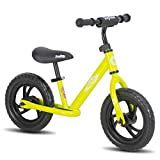 JOYSTAR 12 Inch Balance Bike for Boys 2 3 4 5 Years Old Toddler Push Bike with Footboard and Handlebar Protect Pad 12' Child Glider Cycle Kids Slider Lime