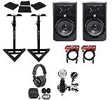 (2) JBL 308P MkII 8' Powered Studio Monitors+Stands+Pads+Cables+Headphones+Mic