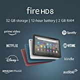 Fire HD 8 tablet, 8' HD display, 32 GB, latest model (2020 release), designed for portable entertainment, Black