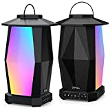 Onforu Outdoor Bluetooth Speakers, 2 Pack 25W Wireless Speakers, Supported Pairing Many Speakers, IPX5 Waterproof Patio Speakers with LED Mood Lights for Yard, Garden, Camping, Christmas