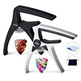 Capo, 4-in-1 Guitar Capo Professional for Acoustic and Electric Guitars, 2 Pack capos with 2 Picks, Necessary Guitar Accessories to you