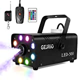 GEJRIO Fog Machine, 500W Smoke Machine with 16 Color Controllable Lights Effect, Wireless and Wired Remote Control with Preheating Light Indicator for Weddings, Halloween, Parties & Stage, Black