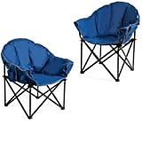 Giantex Set of 2 Portable Camping Chair, Moon Saucer Chair, Outdoor Folding Chair with Soft Padded Seat, Lawn Chair with Cup Holder and Carry Bag (Navy)