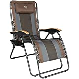 TIMBER RIDGE Oversized Zero Gravity Chair, Folding Patio Lounge Chair with Adjustable Headrest, XL Padded Reclining Lawn Chair with Cup Holder for Outdoor Garden, Support up to 350lbs(Brown)