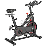ADVENOR Magnetic Resistance Exercise Bike 350 lbs Weight Capacity - Indoor Cycling Bike Stationary with Comfortable Seat Cushion, Silent Belt Drive(black&red)