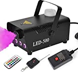 Fog Machine, BZBRLZ 500W Smoke Machine with 13 Colorful LED Lights Effect, 2000CFM Fog with 30cm Wired Receiver and 2 Wireless Remote Controls, Perfect for Wedding, Halloween, Christmas Party