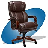 La-Z-Boy Fairmont Big and Tall Executive Office Chair with Memory Foam Cushions, High-Back with Solid Wood Arms and Base, Bonded Leather, Big & Tall, Biscuit Brown