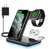 WAITIEE Wireless Charger 3 in 1, 15W Fast Charging Station for Apple iWatch SE/6/5/4/3/2/1,AirPods Pro, Compatible with iPhone 12/12 Pro Max/11 Series/XS Max/XR/XS/X/8/8 Plus/Samsung Galaxy (Black)