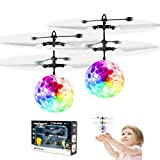 2 Pack Flying Ball Toys, Rechargeable Ball Drone Light Up RC Toy for Kids Boys Girls Gifts, Infrared Induction Helicopter with Remote Controller for Indoor Games