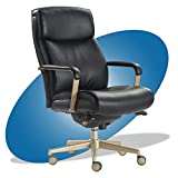 La-Z-Boy Melrose Executive Office, Adjustable High Back Ergonomic Computer Chair with Lumbar Support, Brass Finish, Black Bonded Leather