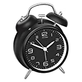 Peakeep 4 inches Twin Bell Alarm Clock with Stereoscopic Dial, Backlight, Battery Operated Loud Alarm Clock (Black)