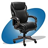 La Z Boy Hyland Executive Office Chair with AIR Technology, Adjustable High Back Ergonomic Lumbar Support, Bonded Leather, Black and Weathered Gray Wood Finish