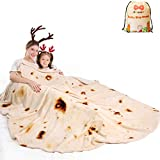 mermaker Burritos Tortilla Blanket 2.0 Double Sided 71 inches for Adult and Kids, Giant Funny Realistic Food Throw Blankets, 285 GSM Novelty Soft Flannel Taco Blanket (Yellow Blanket-Double Sided)