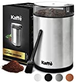 Kaffe Electric Coffee Grinder - Stainless Steel - 3oz Capacity with Easy On/Off Button. Cleaning Brush Included!
