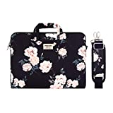 MOSISO Laptop Shoulder Bag Compatible with MacBook Pro/Air 13 inch, 13-13.3 inch Notebook Computer, Camellia Carrying Briefcase Sleeve with Trolley Belt, Black