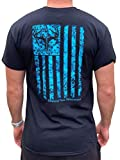 Country Life Outfitters Blue Camo American Flack Black Mens Short Sleeve T-Shirt (Large)