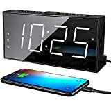 Digital Alarm Clocks for Bedrooms, Loud Dual Alarm Clock for Heavy Sleepers with USB Charger, Snooze, Battery Backup, 7' Large LED Display, Plug in Basic Bedside Clock with Dimmer, Volume 12/24H DST
