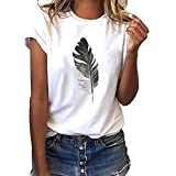 Fashion Women's Casual T-Shirt Loose Short-Sleeved Leaf Print O-Neck Top White