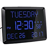 ROCAM Day Clock, 11.5' Extra Large Display LED Digital Desk & Wall Calendar Alarm Day Clock with Date and Time, Battery Backup & 3 Alarms - Perfect for Elderly, Impaired Vision, Seniors, Dementia