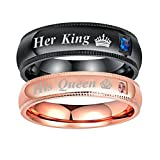 Aokarry His&Her 4MM Couple Ring, Stainless Steel Her King and His Queen Ring Women Size 5