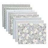 Aubliss 8pcs Fat Quarter Fabric Bundles 100% Cotton 40cm x 50cm Quilting Cotton Craft Fabric Pre-Cut Squares Sheets for Patchwork Sewing Quilting Crafting