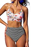 CUPSHE Women's This is Love High Waisted Lace Up Halter Bikini Set, Pink, Medium
