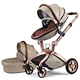 Baby Stroller Upgrade 2020,Hot Mom Baby Carriage with Adjustable Seat Height Angle and Four-Wheel Shock Absorption,Reversible,High Landscape and Fashional Pram,Grid