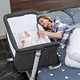 Baby Bassinet,RONBEI Bedside Sleeper,Baby Bed to Bed,Babies Crib Bed, Adjustable Portable Bed for Infant/Baby Boy/Baby Girl/Newborn (Dark Grey)
