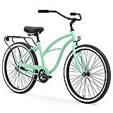 sixthreezero Around The Block Women's Single-Speed Beach Cruiser Bicycle, 24' Wheels, Mint Green with Black Seat and Grips