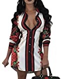 YouSun Women's Sexy Floral Print Simple Button Down Long Sleeve Collar Loose T-Shirt Blouse Tops