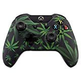 eXtremeRate Hydro Dipped Front Housing Shell Faceplate Cover Replacement Parts for Standard Xbox One Controller (Fits Both with 3.5mm Jack and Without 3.5 mm Jack) (Green Weeds)