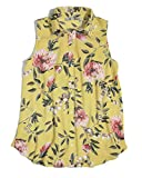 Ann Taylor LOFT Women's Floral Mixed Media Button-Down Shell (Small, Yellow Floral)