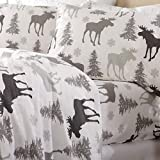 Home Fashion Designs Flannel Sheets King Winter Bed Sheets Flannel Sheet Set Moose Flannel Sheets 100% Turkish Cotton Flannel Sheet Set. Stratton Collection (King, Moose)