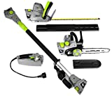 Earthwise CVP41810 7 10' Handheld Saw-4.5 Amp 17' Pole Hedge Trimmer 4-in-1 Multi Tool, Grey