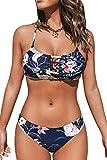 CUPSHE Women's Low Rise Navy Floral Cutout Crisscross Bikinis Swimsuit Sets, S