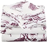Pinzon Signature 190-Gram 100% Cotton Heavyweight Velvet Flannel Bed Sheet Set, Queen, Floral Amethyst
