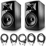 JBL 308P MkII Powered 8' Studio Monitoring Speakers (Pair) w/ 5 Essential AxcessAbles AudioCables for Recording Studio