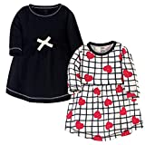 Touched by Nature Girls' Organic Cotton Short-Sleeve Dresses, Black Red Heart, 12-18 Months