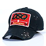 Vintage DSQ Embroidered Patch Baseball Cap Low Profile Dad Hat Washed Twill Cotton Black Trucker Hat,Black
