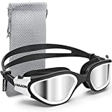 Swim Goggles, YAKAON Polarized Swimming Goggles, Anti-Fog Clear Vision No Leaking UV Protection Swim Goggles for Men Women Adult Youth Teens with Protective Bag