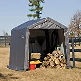 ShelterLogic 10' x 10' Shed-in-a-Box All Season Steel Metal Peak Roof Outdoor Storage Shed with Waterproof Cover and Heavy Duty Reusable Auger Anchors, grey