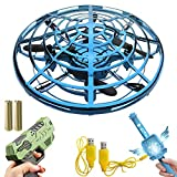 IOKUI 3 in 1 Hand Operated Drones for Kids or Adult - with Hand/Toy Gun/Wand-Controlled Flying Ball Cool Toys for 5 6 7 8 9 10 11 12 Years Blue