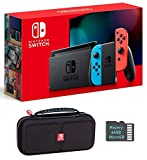 Nintendo Switch Bundle w/Case & SD Card: Nintendo Switch 32GB Console with Neon Red and Blue Joy-Con, Mazery SD Card & Travel Case