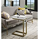 Loft Lyfe Adorna End Table - 2 USB Charging Ports, 2 Outlets, Power Plug | White/Gold