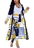 Womens Floral Print Long Sleeve Cardigan Cover up Long Pants 2 Piece Outfits Set Yellow