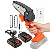 """Foonsen Mini Chainsaw, 4"""" Hand held Cordless Chain saw, battery powered Chainsaw for Wood Cutting, Tree Branches Shears Pruning (2 Batteries 2 Chains)"""