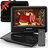 DBPOWER 11.5' Portable DVD Player, 5-Hour Built-in Rechargeable Battery, 9' Swivel Screen, Support CD/DVD/SD Card/USB, Remote Control, 1.8 Meter Car Charger, Power Adaptor and Car Headrest (Black)