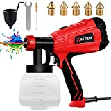 YATTICH Paint Sprayer, High Power HVLP Spray Gun, with 5 Copper Nozzles & 3 Patterns, Easy to Clean, for Furniture, Fence, Car, Bicycle, Chair etc. YT-191