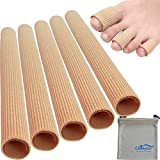 Chiroplax Toe Tubes Sleeves Protectors Cushions Fabric & Gel Lining Finger Toe Separator Tubing for Bunion, Hammer Toe, Callus, Corn, Blister (5Pack, Size Medium)