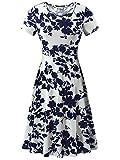 HUHOT Swing Dresses, Women Knee Length Summer Flared Flower Midi Dress for Ladies(Flower-5,Large)